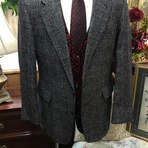 Pure Silk Speckled Plaid Tweed Sport Jacket Blazer